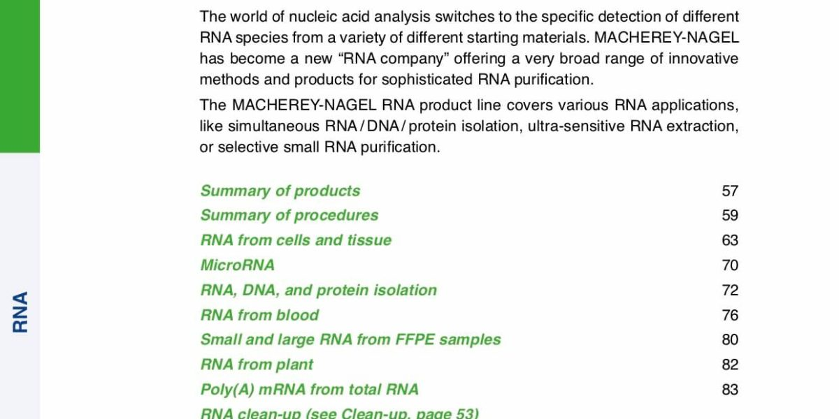 RNA extraction catalog